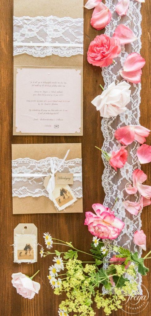 Jute en kant DIY bruiloft - uitnodiging door bruid gemaakt - http://www.trouwfotografiefreya.nl/real-weddings/jute-en-kant-bruiloft/ - DIY bride - burlap and lace wedding styling