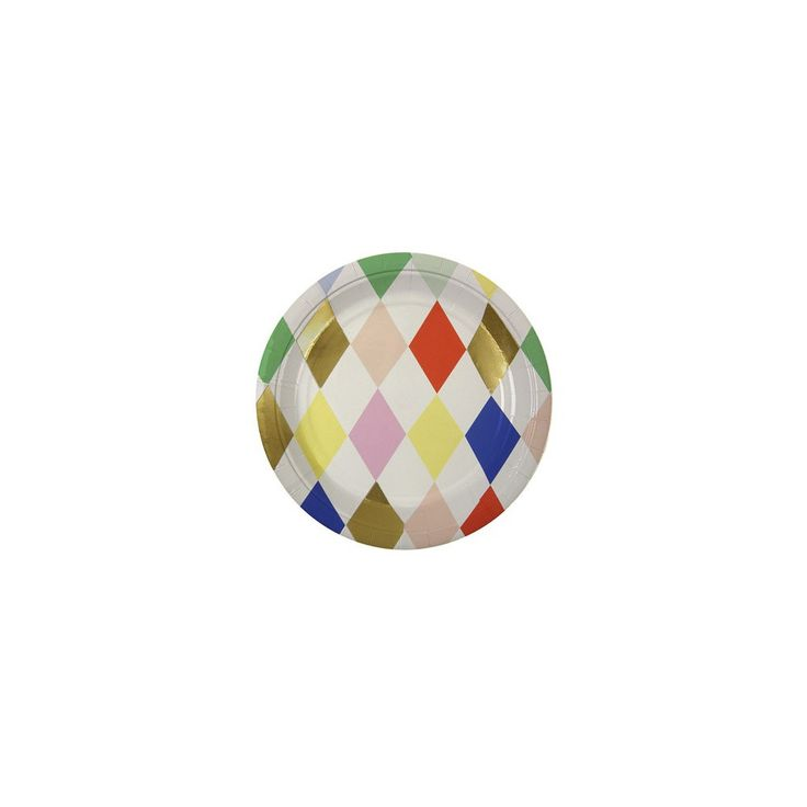 Harlequin multicoloured diamonds paper plates - set of 8 Meri Meri Children- A large selection of Design on Smallable, the Family Concept Store - More than