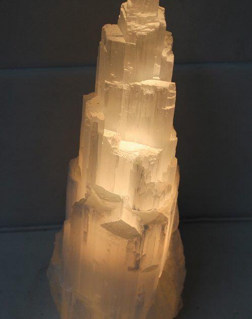 Selenite Tower Lamp 30cm
