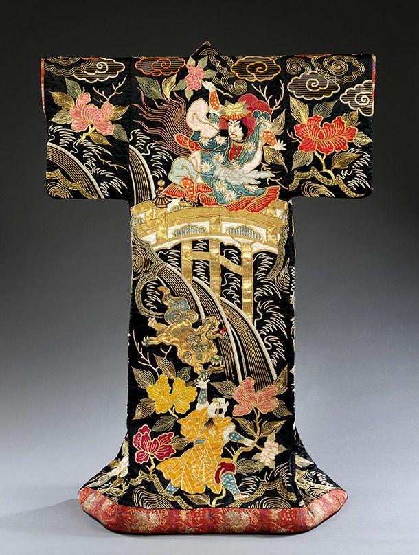 Kimono, 1870-1890, Japan. Satin, embroidery, applique