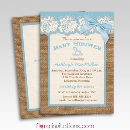 burlap ivory lace blue floral baby shower invitations floral invitations