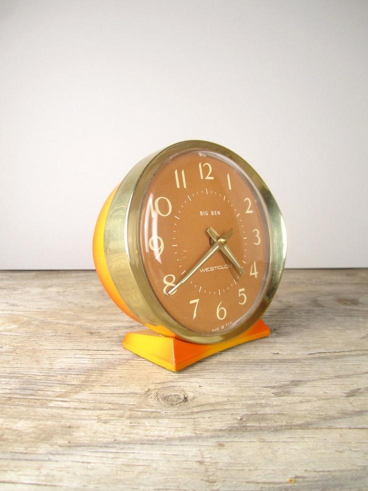 Bright Orange Winding Big Ben Alarm Clock Clock, Orange