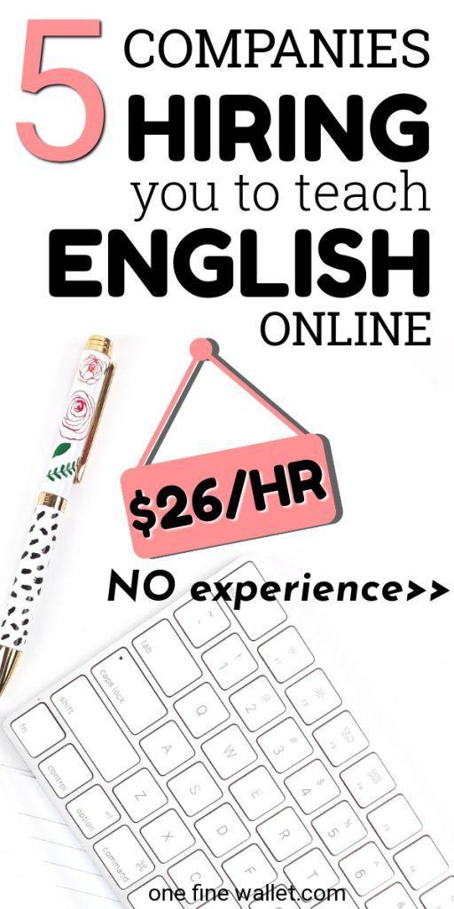 5 Online-Jobs für Englischlehrer ohne Erfahrung – bis zu 26 USD / Std. Unterrichten Sie Englisch online mit oder ohne Abschluss bei fünf Unternehmen, die derzeit einstellen. Arbeiten Sie von zu Hause aus als Nachhilfelehrer und verdienen Sie online Geld mit flexiblen Arbeitszeiten. Diese Arbeit passt zu zu Hause bleiben Mütter auf der Suche nach flexiblen Online-Geschäftsideen