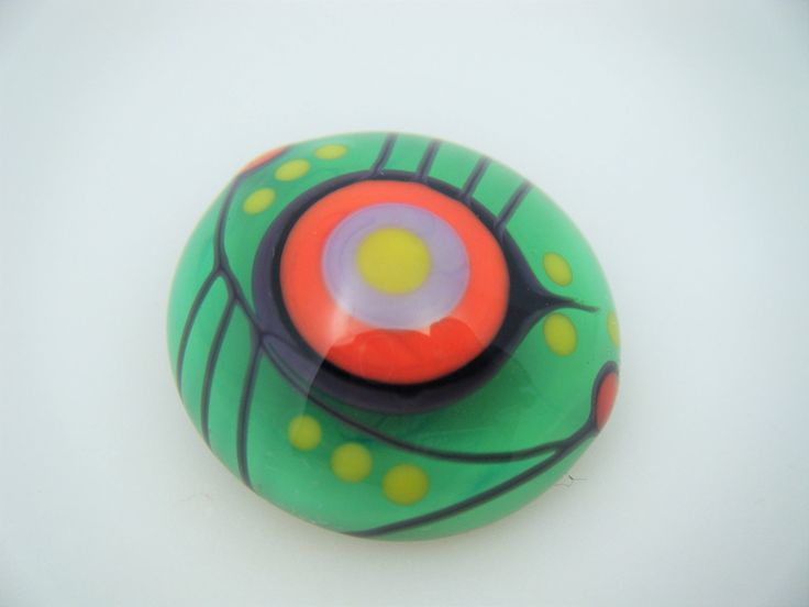 Moogin Beads - Bright abstract lampwork glass CABOCHON - 20mm - SRA by mooginmindy on Etsy
