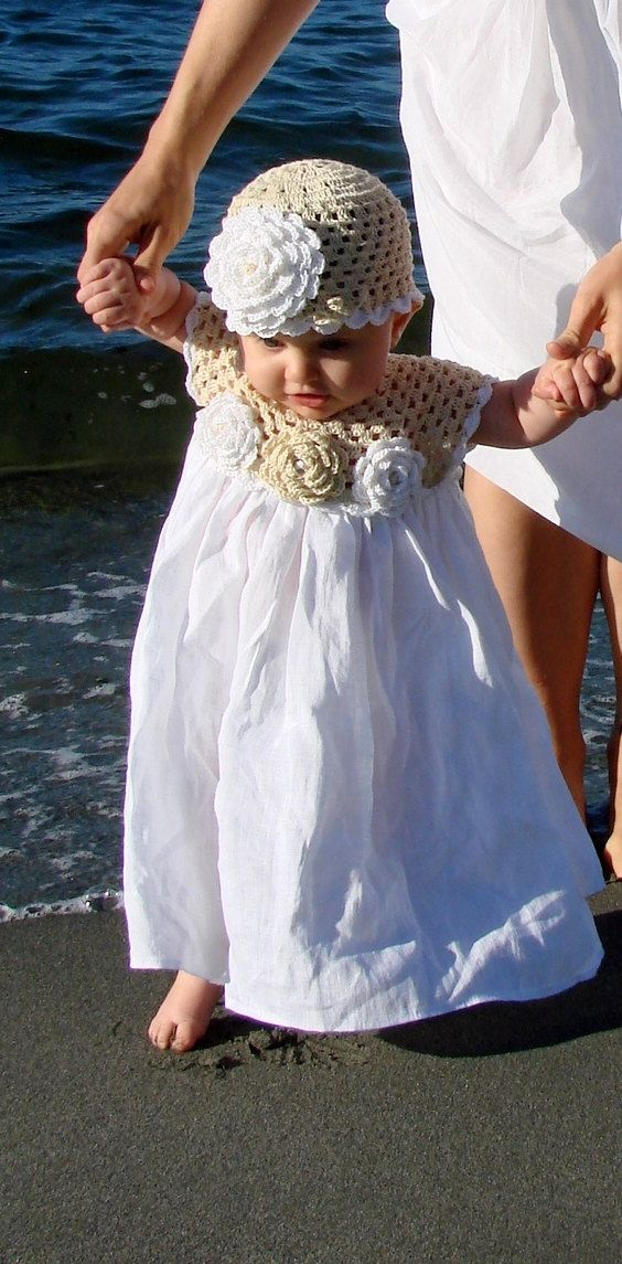 Linen crochet spring / summer dress, hat and shoes / booties for the baby girl and toddlers on Etsy, $60.34 CAD