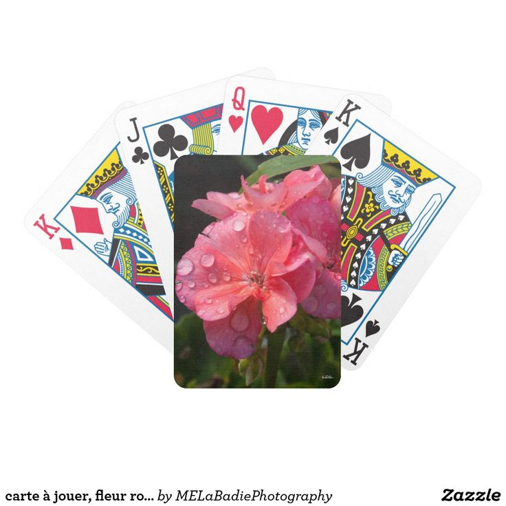 carte à jouer, fleur rose