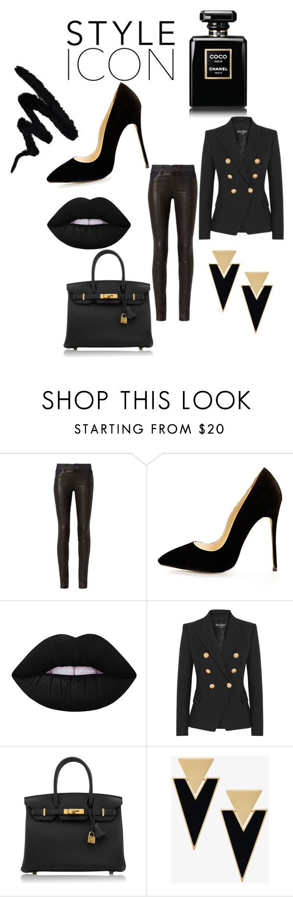 """Black"" by gunhild on Polyvore featuring rag & bone, Lime Crime, Balmain, Hermès and Yves Saint Laurent"