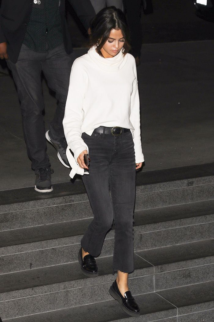 Selena Gomez wore a Madewell outfit for a weekend date night with Justin Bieber, and you're going to want her jeans. See and shop the look here.
