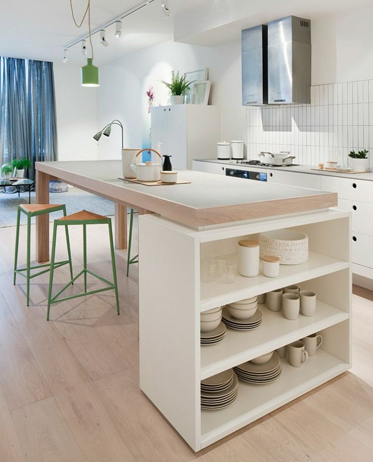 isla de cocina con barra - Encimeras que se convierten en mesas (2 en 1)