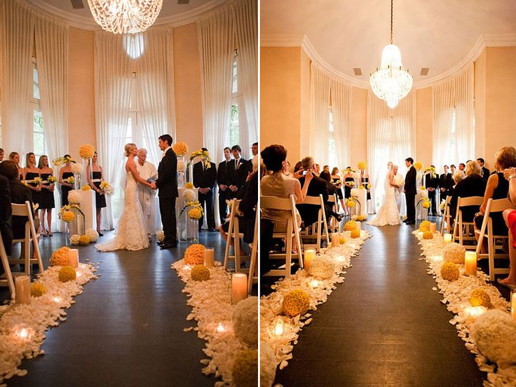 yellow and navy wedding ceremony | ... hip wedding at the Parker Palm Springs | San Diego Wedding Blog