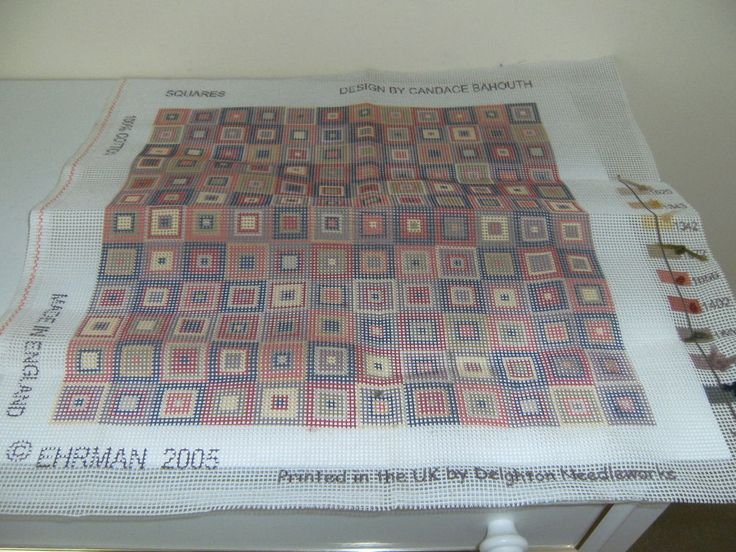 EHRMAN SQUARES TAPESTRY CANVAS  BY CANDACE BAHOUTH  no wool