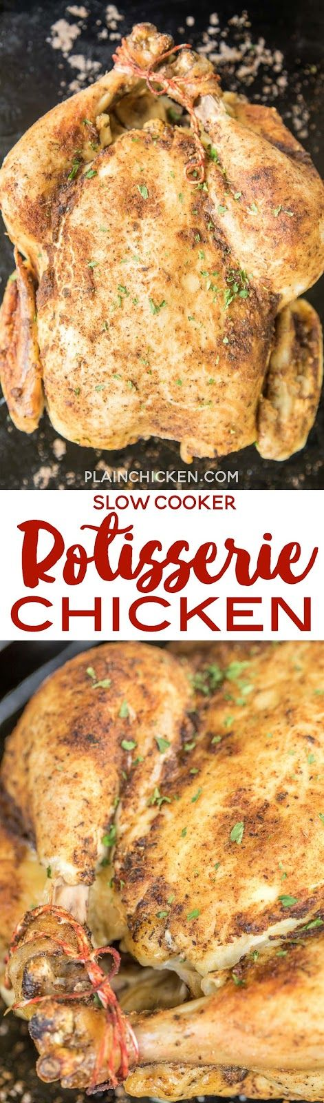 Slow Cooker Rotisserie Chicken - tastes better than store-bought chickens! SO easy. Rub spices on the chicken and pop in the slow cooker. Put cooked chicken under the broiler for a bit to crisp up the skin. Great for dinner or shred chicken and freeze to use in casseroles later. Everyone LOVED this easy slow cooker chicken recipe!
