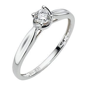 9ct White Gold  Fifth Carat Diamond Claw Set Ring