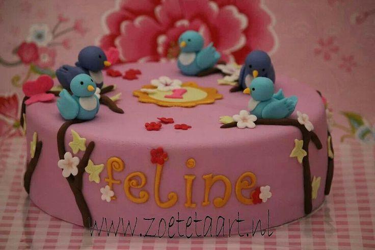 Vogels taart roze