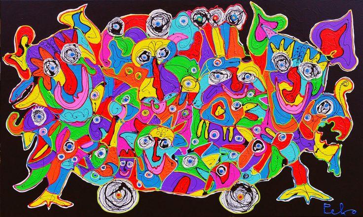Dit is een: Acrylverf dik, titel: 'Groot moder kleurrijk dikke verf schilderij' kunstwerk vervaardigd door: Peko