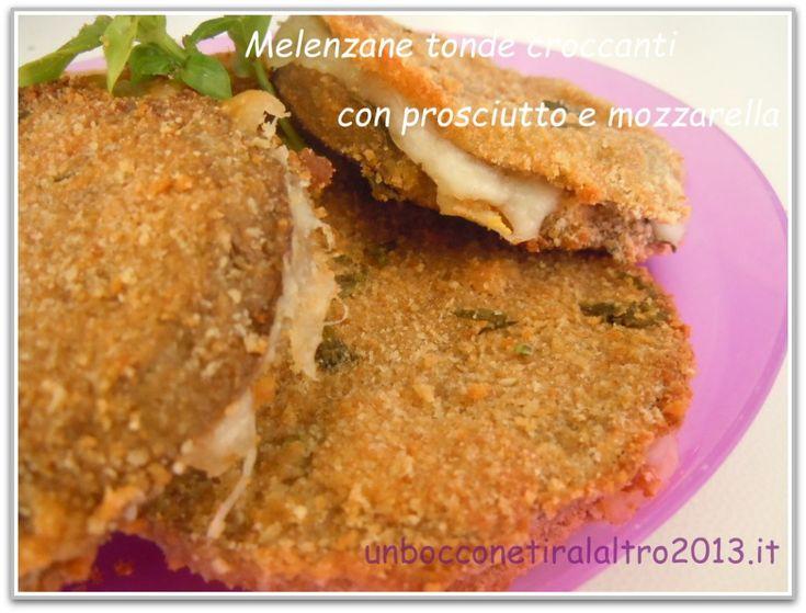 Melenzane tonde croccanti con prosciutto e mozzarella . Sono un secondo piatto leggero, gustoso e completo, magari accompagnate da un' unsalata mista.