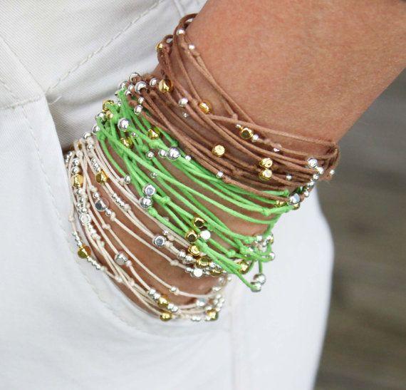 DISCOUNT Deal - 3 Boho Beach Bracelets - Double Wrap Beaded Cotton Cord - Pick SIZE and COLOR - Silver / Gold Accents - Boho Wrap Bracelets