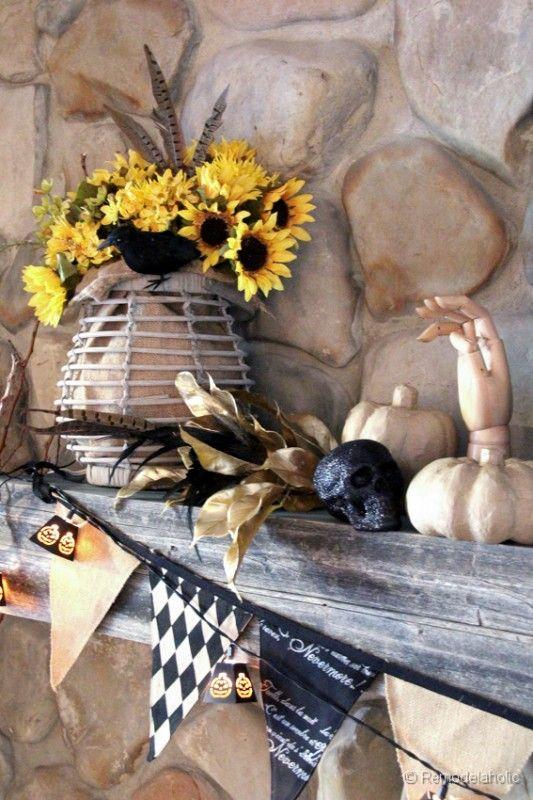 fall halloween mantel ideas - Halloween Mantel Ideas