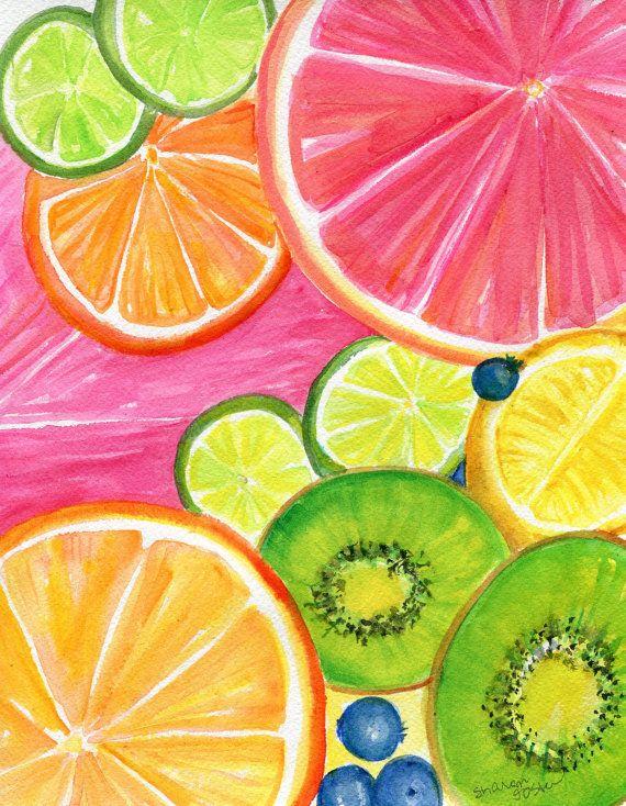 Citrus Watercolor Painting Kiwis, Grapefruit, Lemon, Orange, Limes, Grapes, Pineapple original, Tropical Fruit  8 x 10 kitchen art