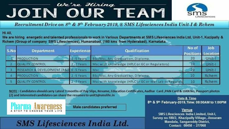 SMS Lifesciences Hyderabad Hiring For Production, QC and R