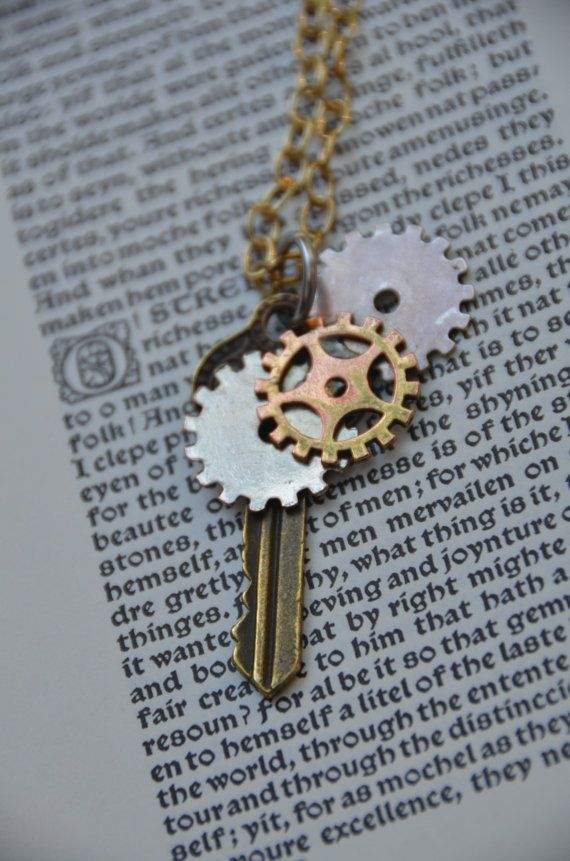 Steampunk Key with Gears by GeekAtHeartShop on Etsy, $15.00