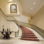 modern staircase with carpet