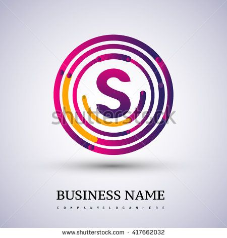 Letter S vector logo symbol in the colorful circle thin line. Vector design template elements for your application or company identity. - stock vector