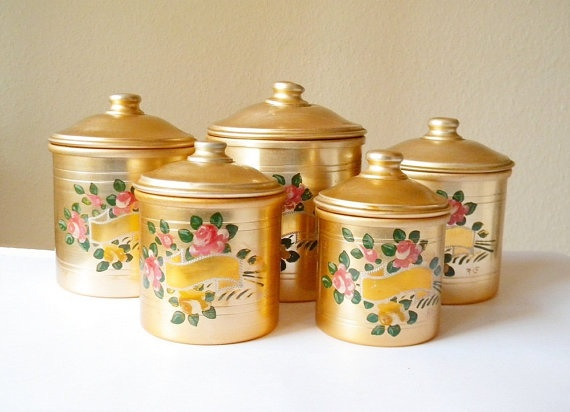 French Aluminium Canisters 5 Vintage Bronze Colour By Thehopetree, $47.00