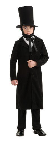 Rubie's Deluxe Abraham Lincoln Costume Rubie's Costume Co. $17.88. Hand Wash. Rubie's brings fun to dress-up with costumes and accessories kids play with all year long. Deluxe costume is available in children's sizes small, medium, and large. Abraham Lincoln Costume includes vest with attached dickie, coat, pants, and hat. Beard not included. Hat and bow tie included. polyester