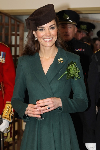 The Duchess of Cambridge visits Aldershot Barracks on St Patrick's Day wearing a dress designed by New Zealand born designer Emilia Wickstead