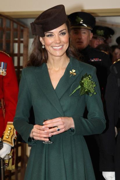The Duchess of Cambridge visits Aldershot Barracks on St Patrick's Day wearing a dress designed by New Zealand born designer Emilia Wickstead
