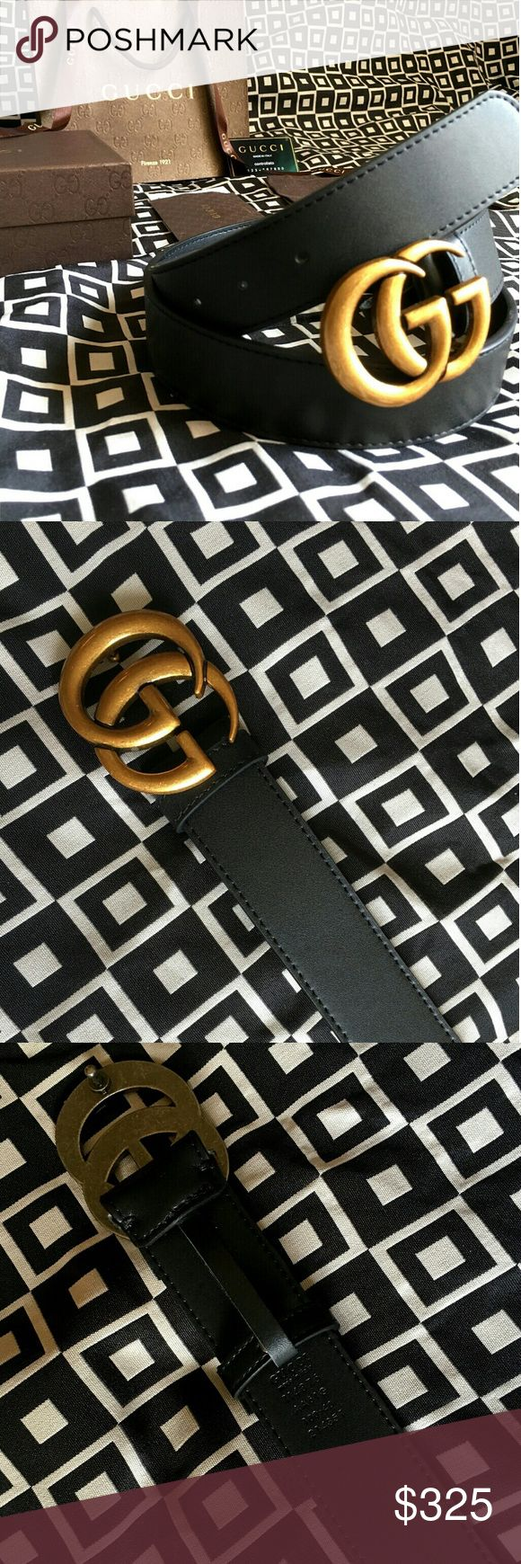 """Gucci GG Belt!!! Gucci GG Belt W/ Antique Brass Double G Buckle!!!  Brand New!!!  Size Available - 32"""", 34"""", 36"""", 38"""", 40"""", 42"""", 44""""!!!  Includes Gucci Belt, Gift Box, Dust Bag, Ribbon, Etc!!!  Great Gift Idea!!!  Last Available!!!  Check My Listings For Other Great Items!!!             Ignore: Gucci gg monogram casual dress belts men's women's guccissma leather monogram web tiger bee embossed panther wool cable knit blooms supreme print angry cat ufo dragon studded snake double g Gucci…"""