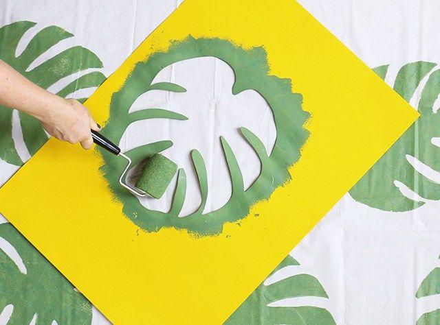 monstera leaf stencil - Google Search