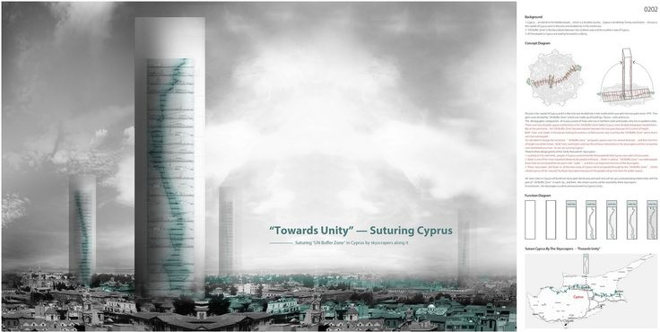 "eVolo 2016 Honorable Mention  Project by: Lin Rujia CHINA ""Towards Unity: Suturing Cyprus"""