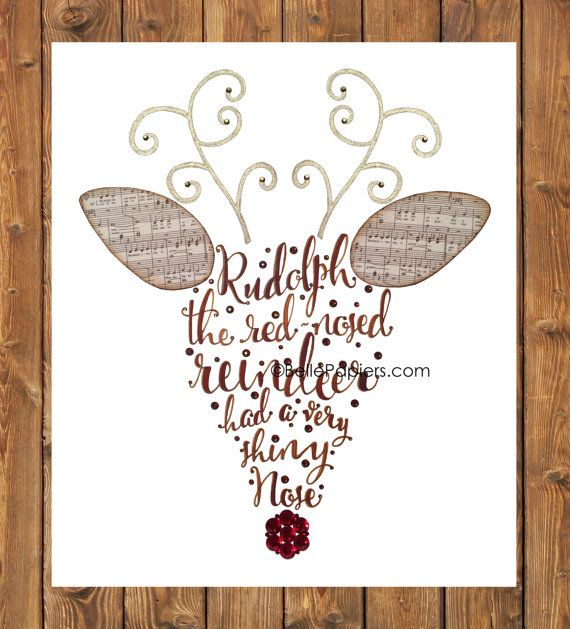 Rudolph the Red nosed reindeer Calligraphy Word by BellePapiers