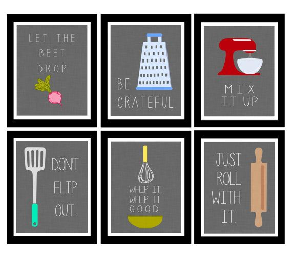 Cute Set of Six Kitchen Digital Art Printables