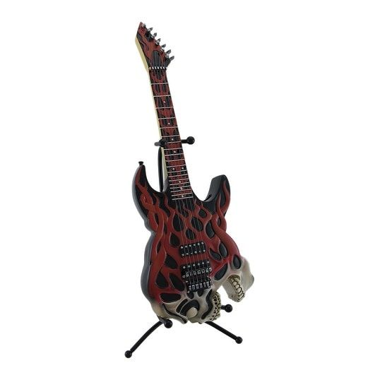 Screaming Skull Electric Guitar Coin Bank Piggy W Stand Multi Plastic
