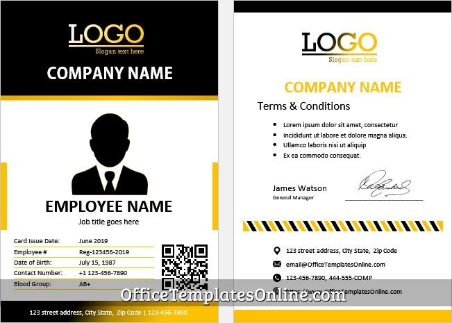 Construction Company Worker Id Card Template In 2021 Id Card Template Card Template Cards