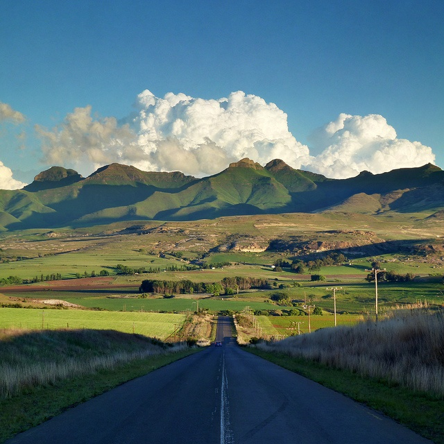 Approaching the Maluti mountain range in South Africa