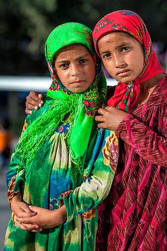Two Roma (gypsy) girls . Dushanbe, Tajikistan.