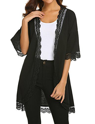 08662ba67ef New Tobrief Womens 3 4 Ruffle Bell Sleeve Lace Kimono Cardigan Cover Up  online.   18.99  weloveoffer offers on top store