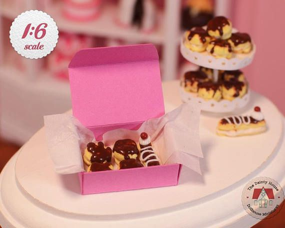 Miniature Cream Puffs & Eclair Box  Chocolate Cream Puffs