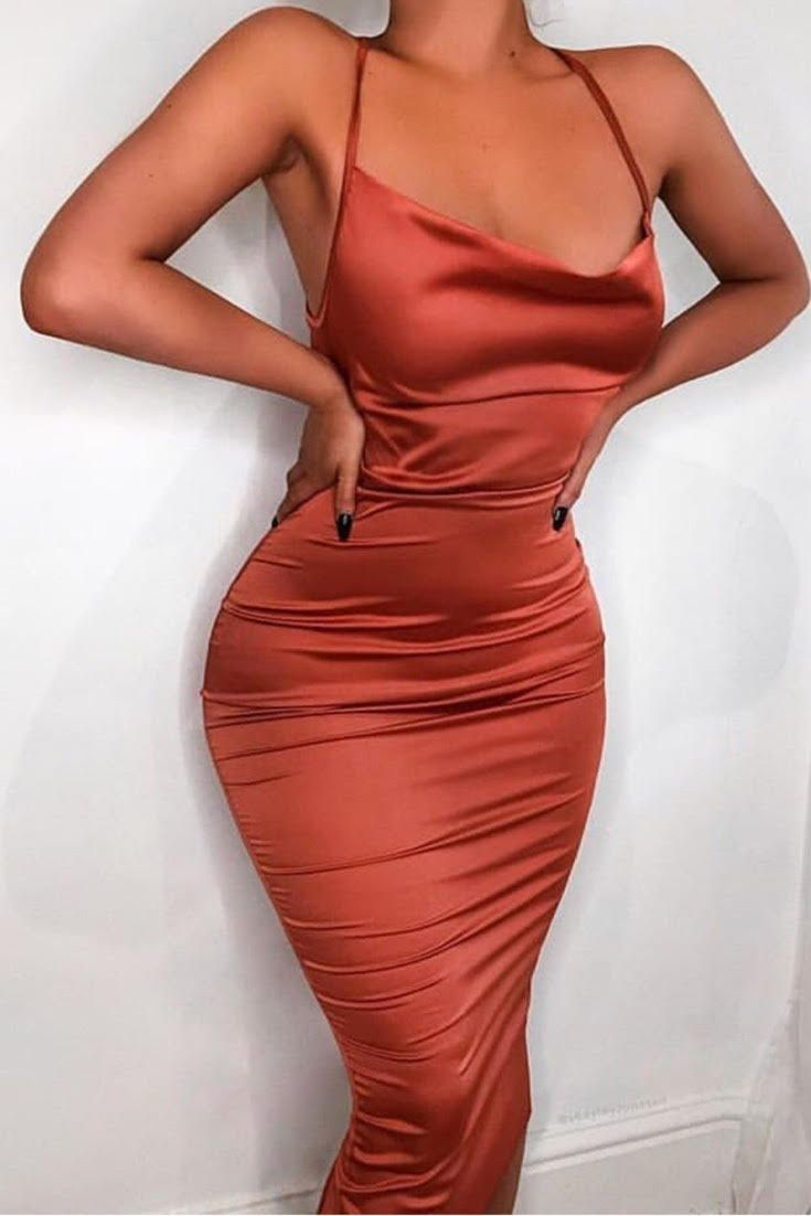 3d203b9c06af Stand out in the crown with this rust satin midi dress outfit! The color of  this midi bodycon dress outfit is so gorgeous and will looking stunning on  ...