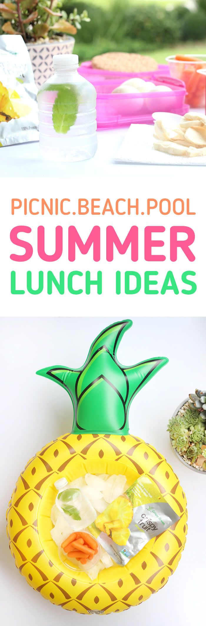Pool Food Ideas? Picnic Fun? Check out these easy lunch ideas for any summer adventure on the go featuring Crispy Fruit. AD