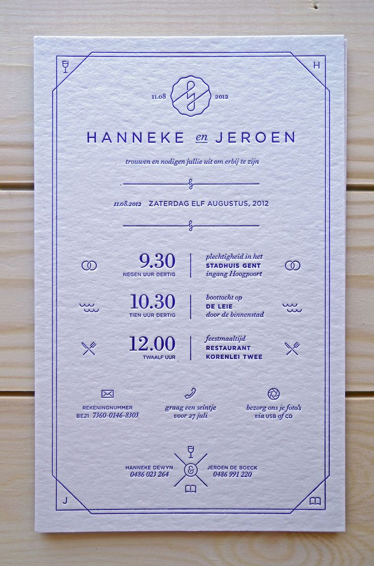 beautiful letterpress invitation with icons 101 best
