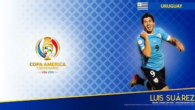 Luis Suarez of Uruguay. 2016 Copa America card.
