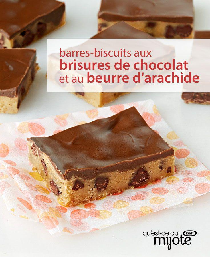 Saviez-vous qu'il suffit de deux (oui, 2 !) ingrédients pour préparer un dessert ? Cliquez pour obtenir cette #recette de Barres-biscuits aux brisures de chocolat et au beurre d'arachide.