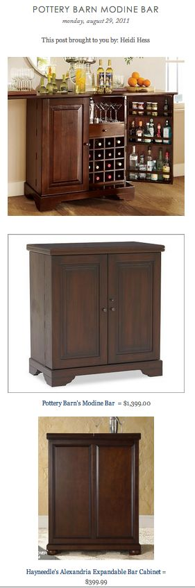 COPY CAT CHIC FIND: Pottery Barn's Modine Bar VS Hayneedle's Alexandria Expandable Bar Cabinet