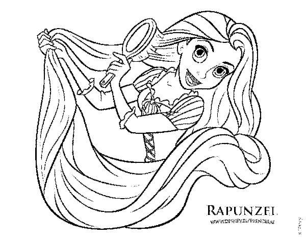 Dibujos De Princesas Para Colorear: Rapunzel Peinándose Para Colorear