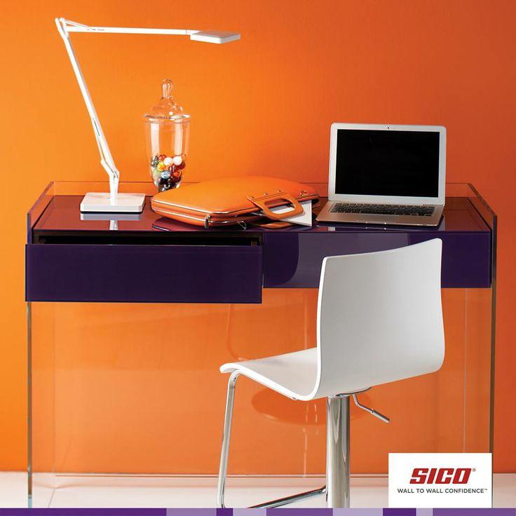 Bright orange office. Paint colour used: Clementine (6506-34 Δ*) by Sico Paints | Un bureau peint avec un orange vibrant. Couleur utilisée : Clémentine (6506-34 Δ*) de Sico.